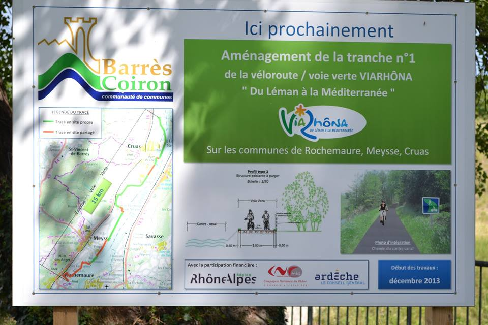 ViaRhôna, Cruas,Meysse,Rochemaure. (Facebook).